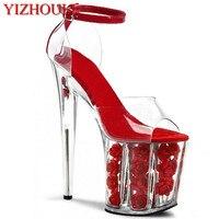 2018 רומנטי crystal red rose הכלה סנדלי פלטפורמת עקבים גבוהים במיוחד נעלי חתונה 20 ס