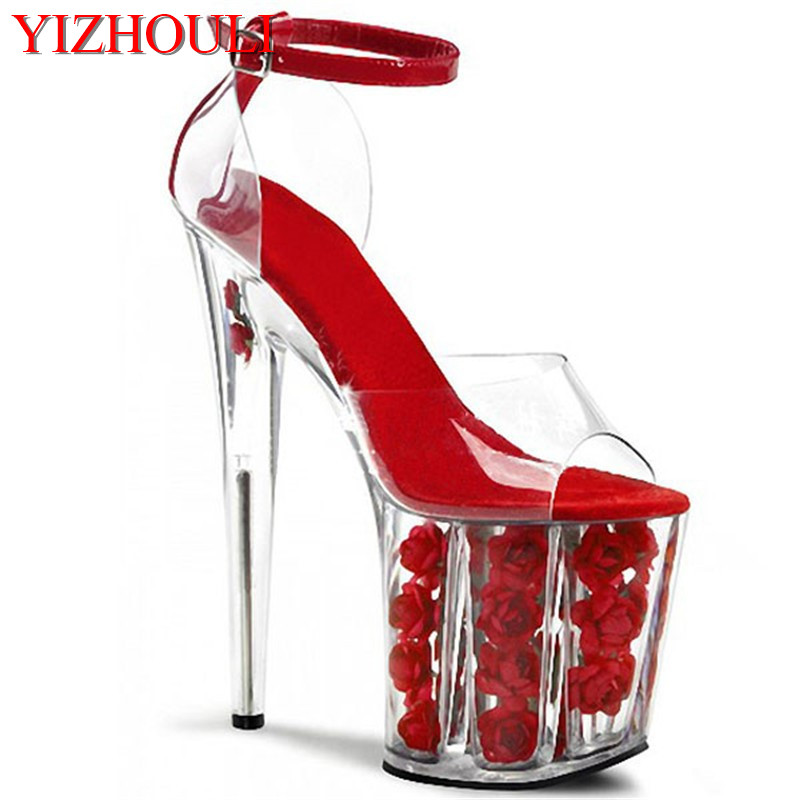2018 romantic crystal red rose bride wedding shoes 20cm ultra high heels platform sandals cos 8 inch high Crystal shoes 15cm ultra high heels sandals ruslana korshunova platform crystal shoes the bride wedding shoes
