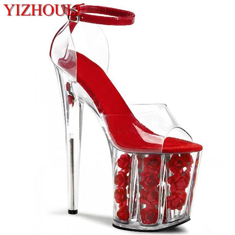 2018 romantische kristall red rose braut hochzeit schuhe 20 cm ultra high heels plattform sandalen cos 8 zoll hohe schuhe