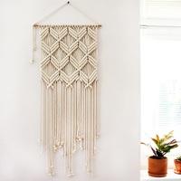 Hand Made Tapestry Macrame Woven Wall Hanging Tapestry Tie Knot Boho Home Wall Geometric Art Decor Dorm Room Decoration