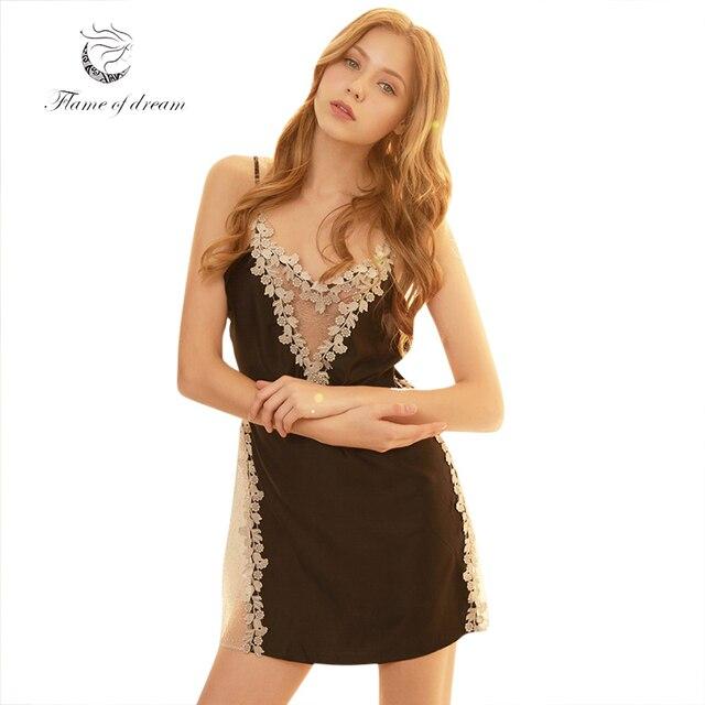 Night Wear Nightwear Sexy Sleepwear Sexy Night Dress Women Sleepers Women  Satin Lace 8820 bf76ef72a
