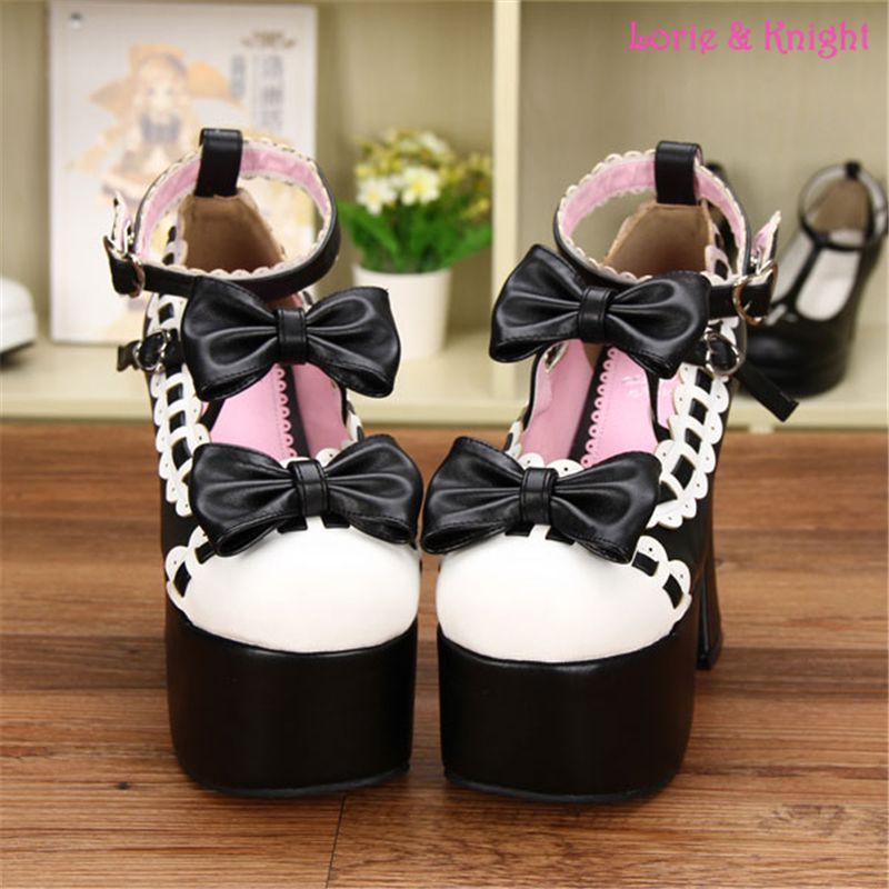 12.5CM High Heel Black and White Leather Pumps Sweet Lace Trim Bowknot Strap Lolita Girls Shoes