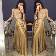 Gold Champagne Long Evening Dresses Sexy Sheer Lace Long Sleeve O Neck Floor Length Satin Formal Women Dress Evening Gown
