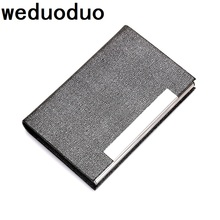 Weduoduo 2019 new Men card holder women fashion PU leather bank name business card case classic style handy card box business style pu aluminum alloy name card holder case silver brown
