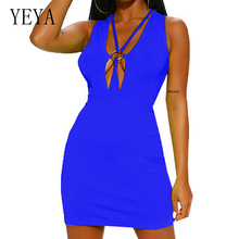 YEYA Sexy Hollow Out Deep V-neck Slim Mini Dress Summer Sleeveless Bodycon Bandage Women Elegant Celebrity Party Vestidos