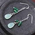 925 Sterling silver Handmade Magnolia Retro long Dangle Earrings Bohemia tassel Natural jade green agate semi-precious stones