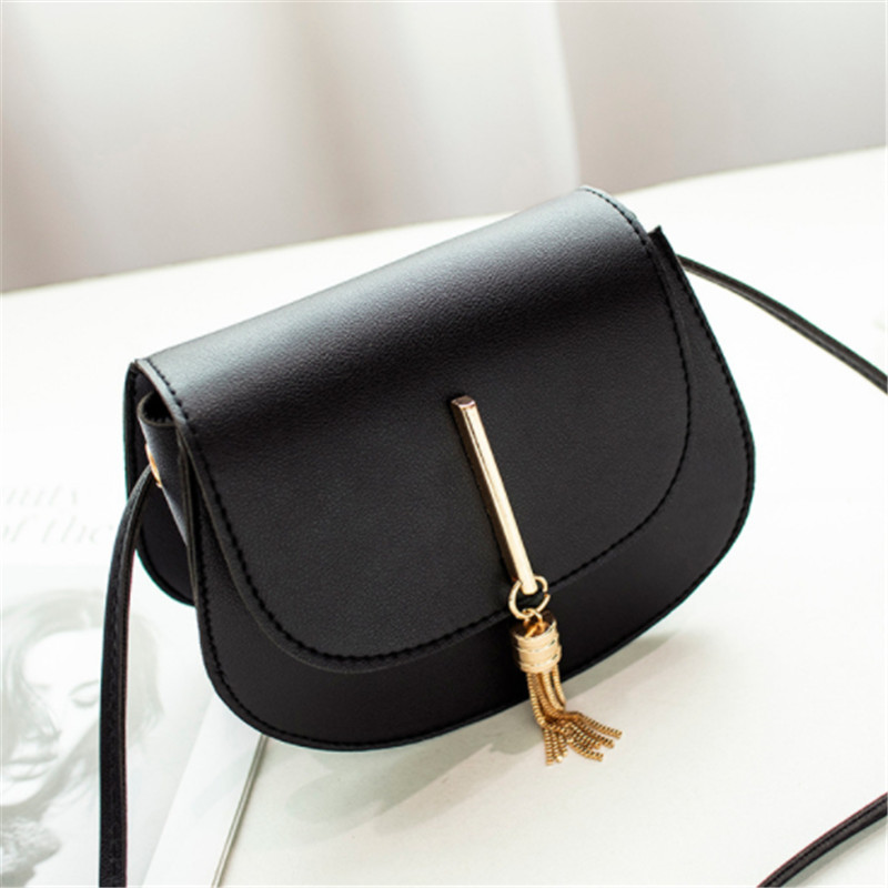 Fashion Small Bag For Women 2019 Tassel Solid Crossbody Bags For Women PU Leather Flaps Shoulder Messanger Bags in Shoulder Bags from Luggage Bags