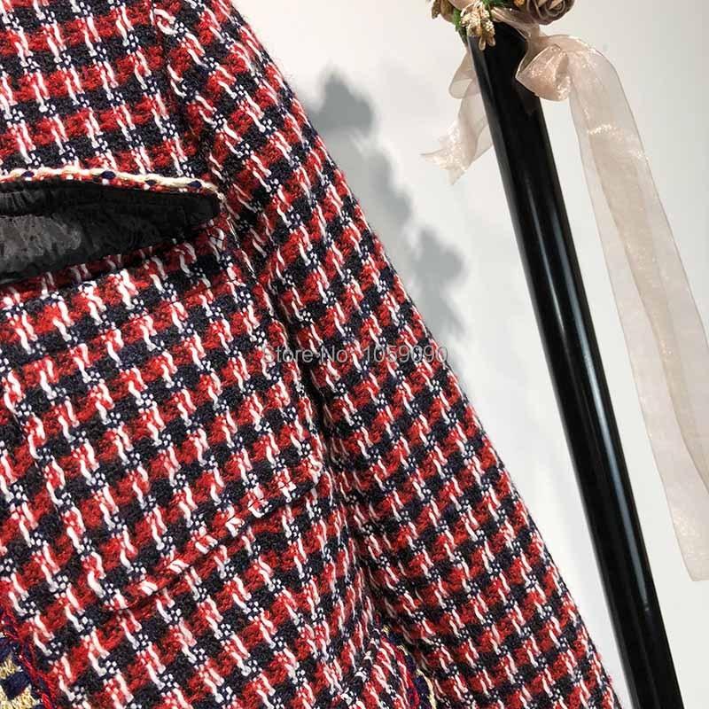 Manches Poches Nouveau Armure Avant Vérifié Rond Veste Rouge Quatre Longues Tweed 2018 Tuyauterie Femme Boutonné Col Mode Wishbop tqFv6n
