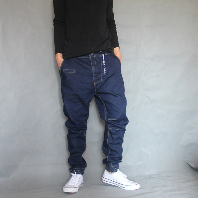 Japon Style Sarouel Jeans Hommes Denim Hip Hop Pantalon Lâche Baggy Jeans  Pantalon Léger Élastique Grande 78409f398770