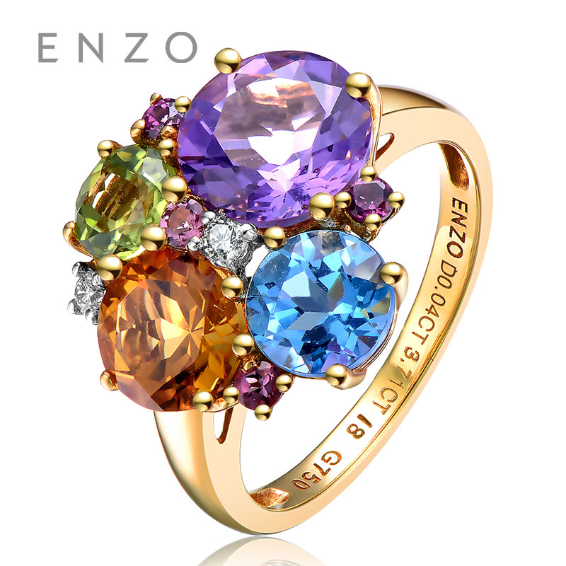 ENZO Rainbow 18K Gold Irregular Shape Ring Natural Colourful Crystal Ring With Fancy Design Wonderful Jewelry totally 4CT