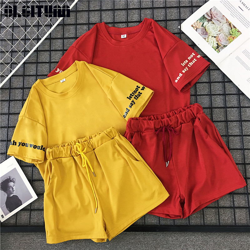 Women Suit New Summer 2020 Casual Sports Fashion Solid O-Neck Student Short T-Shirt  Female Two-Piece Top WS151