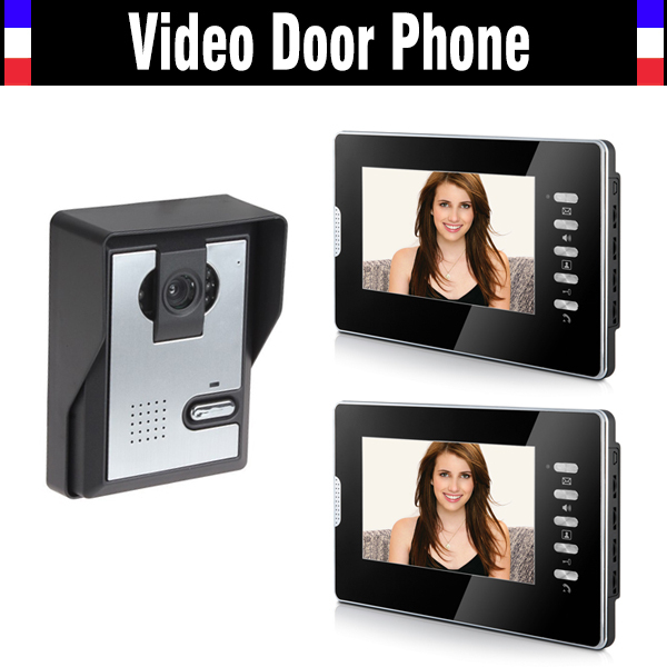 7 Inch Monitor Handfree Video Door Phone Intercom Doorbell Camera Kits 1 Camera 2 Monitor Night Vision Call And Intercom
