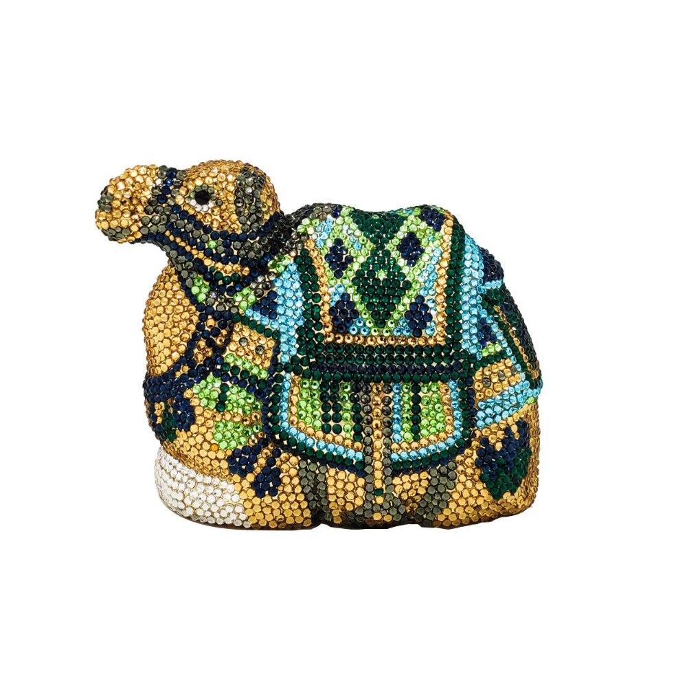 DAIWEI Luxury Colorful Full Diamonds Camel Shape Clutch Women Crystal Evening Bags Bridal Wedding Party Prom Handbags Metal Mini