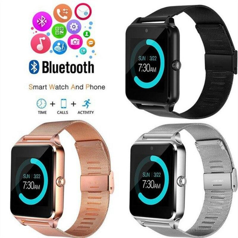 Gt08 plus pulseira de metal relógio inteligente z60 bluetooth pulso smartwatch suporte sim tf cartão android & ios relógio pk q9