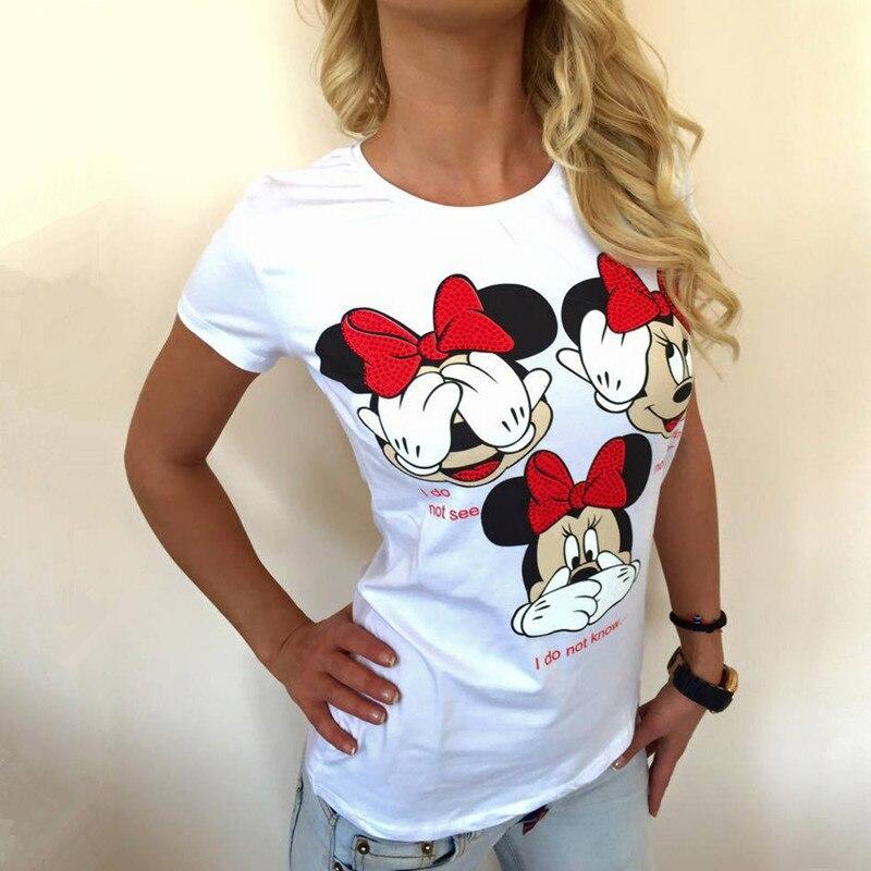 Sensfun Moda Novidade Branco Mulher Verão Camiseta Menina Mickey Mouse Camiseta de Algodão Cor Sólida Feminino Casual Manga curta Tops