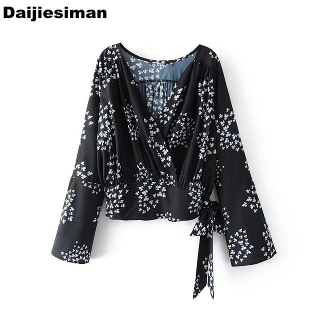 Autumn Women Brief Digital Floral Print Rossed V Neck Shirt Ladies