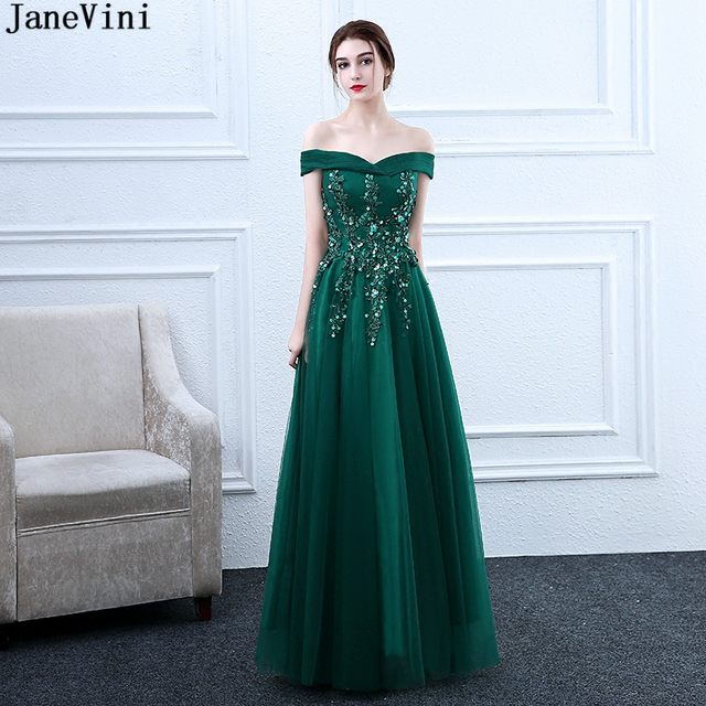 a55600edb56c5 US $138.0 49% OFF|JaneVini Elegant Dark Green A Line Mother of The Bride  Dresses Appliques Beaded Floor Length Tulle Women Formal Evening Gowns-in  ...