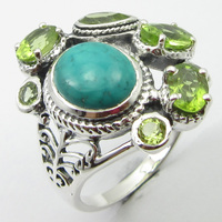 Cut Turquoises, Peridots 8 STONE Ring Size 8.75 Solid Silver Wholesale Gift Unique Designed