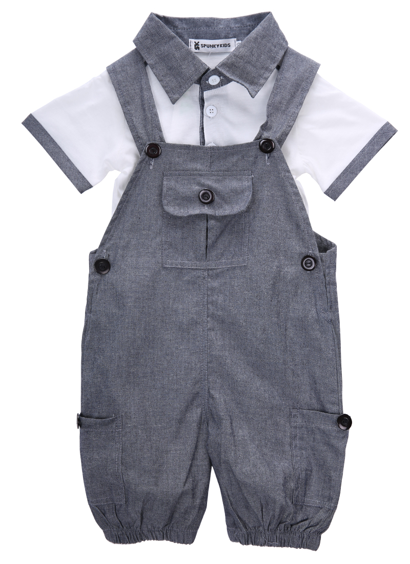 Gentlemen Baby Boys Toddler 2pcs Set Short Sleeve T-shirt Top Bib Pants Overall Outfits 3m-2y Baby Clothes Latest Technology Mother & Kids