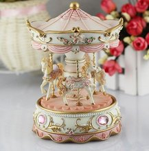 #36  creative gift present princess love girl music box musical box resin carrousel hand move gift present wholesale