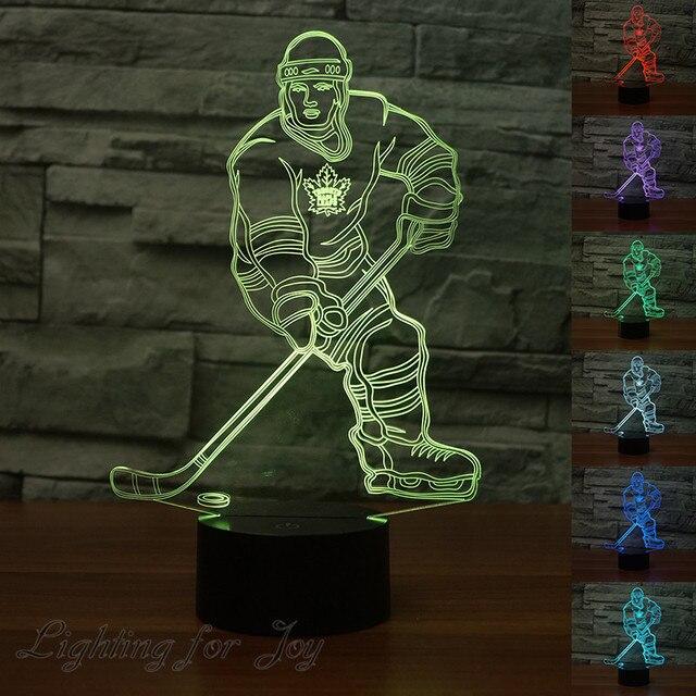 Eishockey Player 3D Led Lampe Farbwechsel Stimmung Lampe Touch Schalter  Acryl Nachtlicht Kinder Nachttischlampen