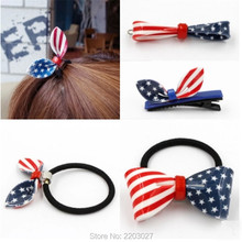 Fashion Korean Version of The New Flag Bow Rabbit Ears Hair Ring Hair Rope Combs Hairpin