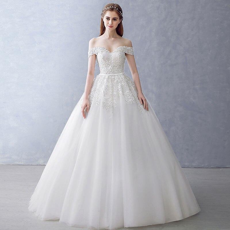2018 Bollkjole Brudklänning Vintage Muslim Plus Storlek Snörning - Bröllopsklänningar - Foto 3