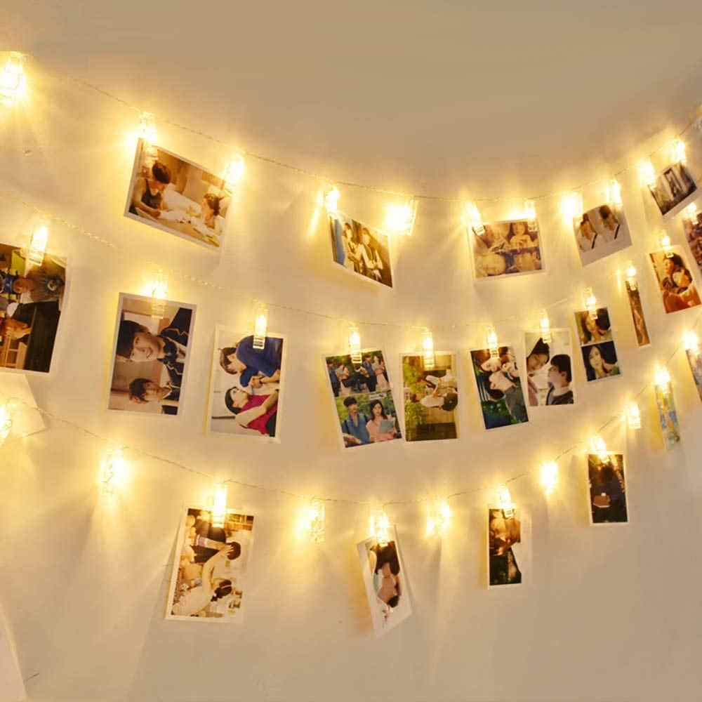 1.2M 10 LED Photo Clip String Lights Bedroom Fairy Lights with Clips for Bedroom Decoration to Hang Photo Cards and Artwork