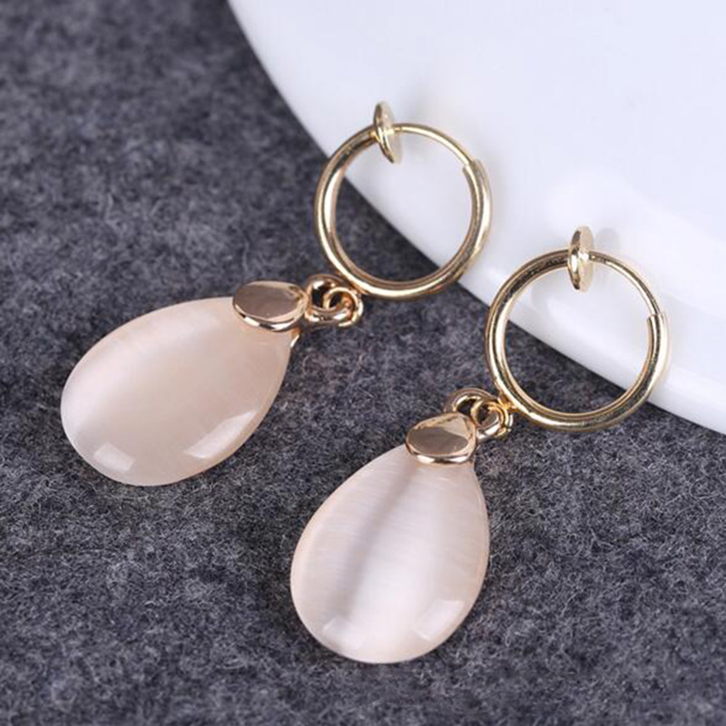 Grace Jun New Design Simple Opal Water Drop Shape Clip On Earrings Non Piercing For Women Party Wedding Elegant Earrings Bijoux