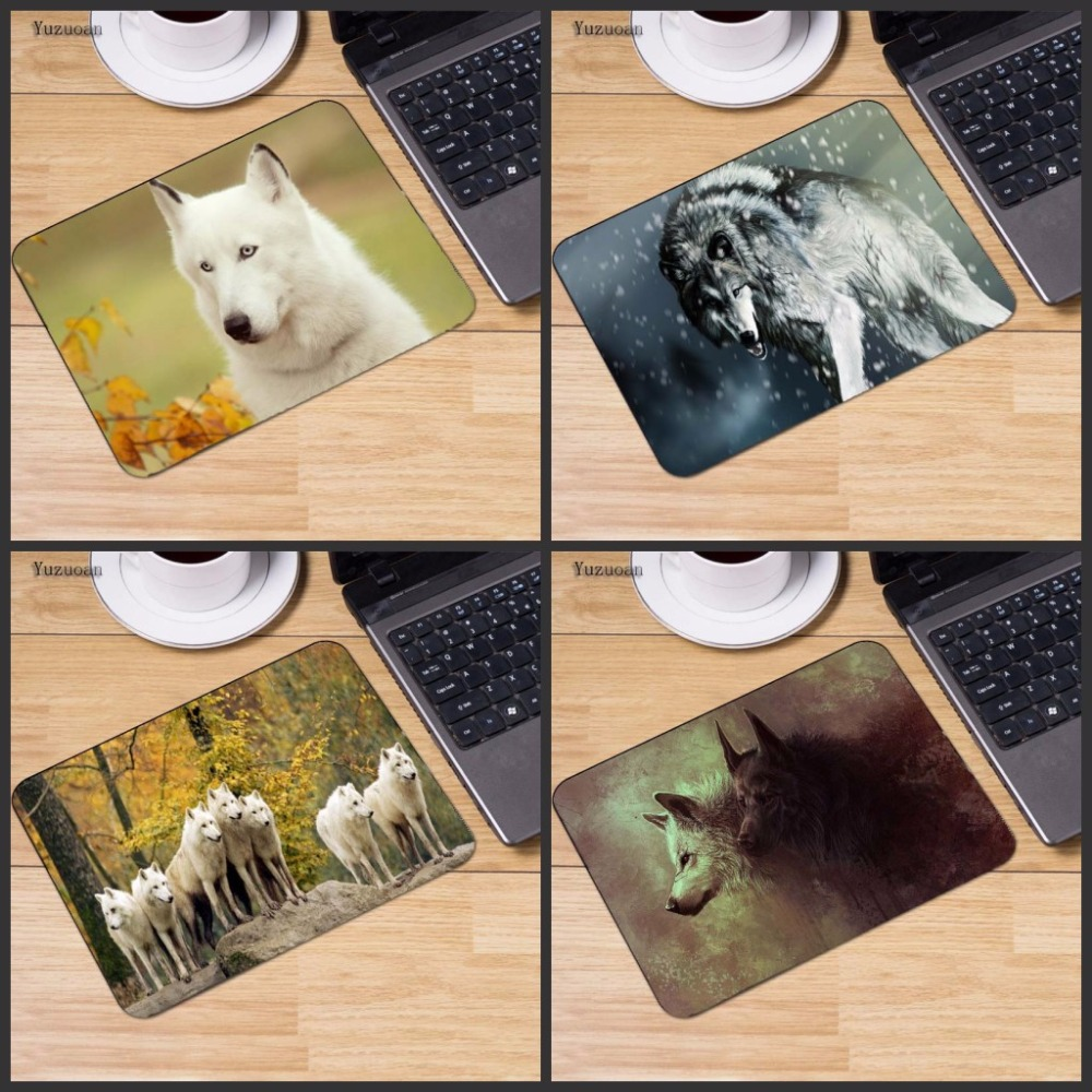 Yuzuoan Wolf In Forest Animal Gaming Mouse Mats Computer Laptop Notbook 18*22cm and 25*20cm 25*29cm No Lock Edge Mouse Pad
