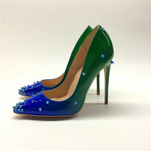 Keshangjia brand fashion new pointed blue green gradient exquisite rivet single shoes 12cm high heels ladies party shoes