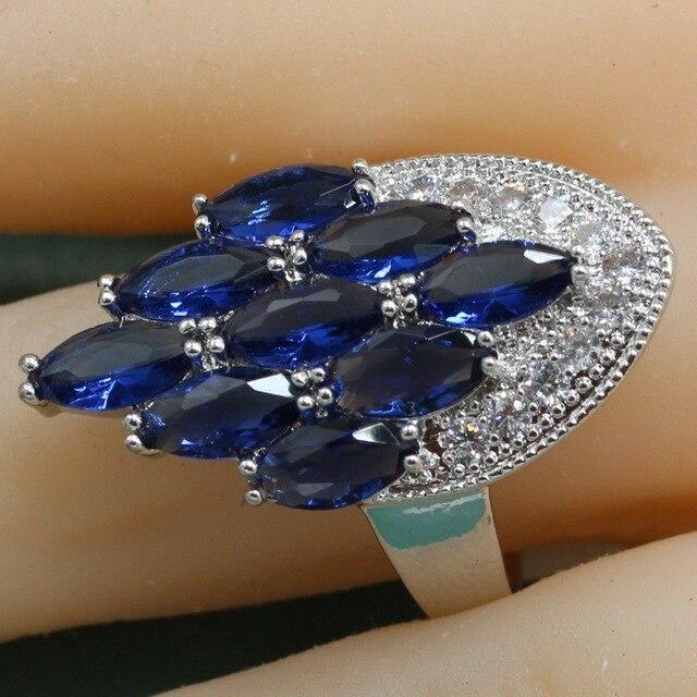 Обручальные полудрагоценные камни 925 Серебряные роскошные кольца для женщин многоцветное кольцо с несколькими камнями Бесплатная шкатулка для украшений