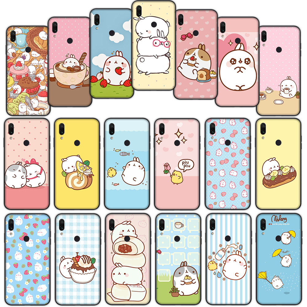 Molang <font><b>Rabbit</b></font> Soft Cover Case for <font><b>Xiaomi</b></font> <font><b>Redmi</b></font> Note 7 4 4X <font><b>6</b></font> Pro 5 Plus 5A 6A Go S2 image