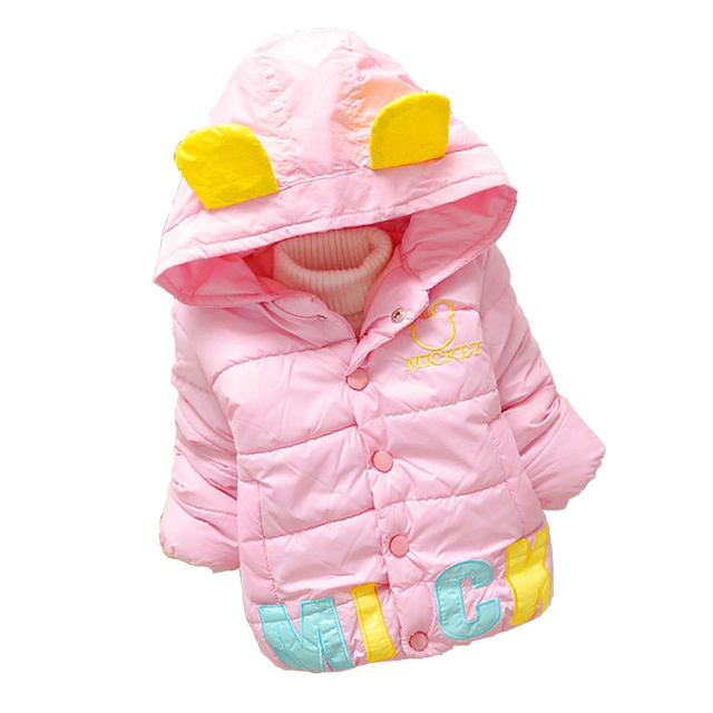 Bebê Casaco Acolchoado Primavera Bonito Casaco Crianças Impressão Carta Bebê Revestimento do Outono Para Meninas Crianças Moda vestindo Casaco Com Orelhas roupas