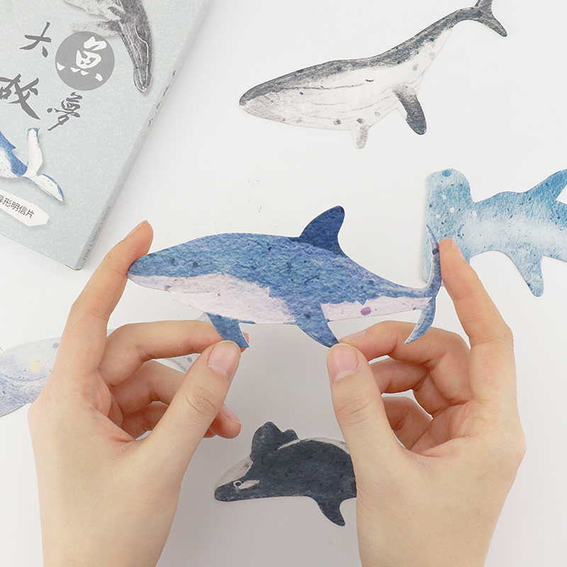 30pcs/lot Hand Drawing Whales Sharks Design Postcards Ocean Theme Message Note Paper Bookmark Photo Props Creative Stationery