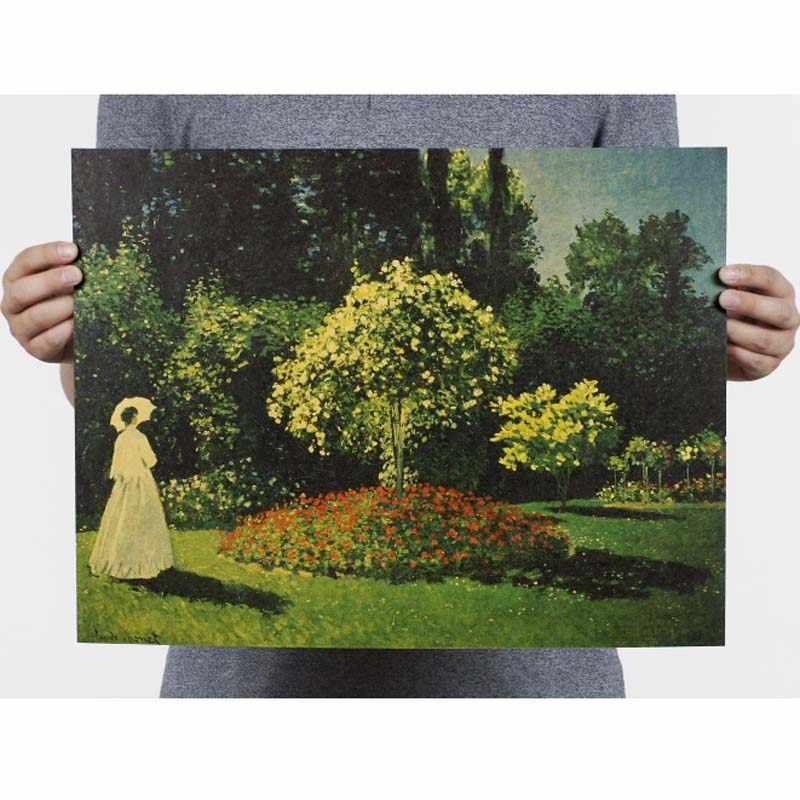 EEN dame in de tuin Vintage Movie Posters Retro Tekening Poster Home Decor Decoratie Schilderen Kern Kraft Papier Muursticker
