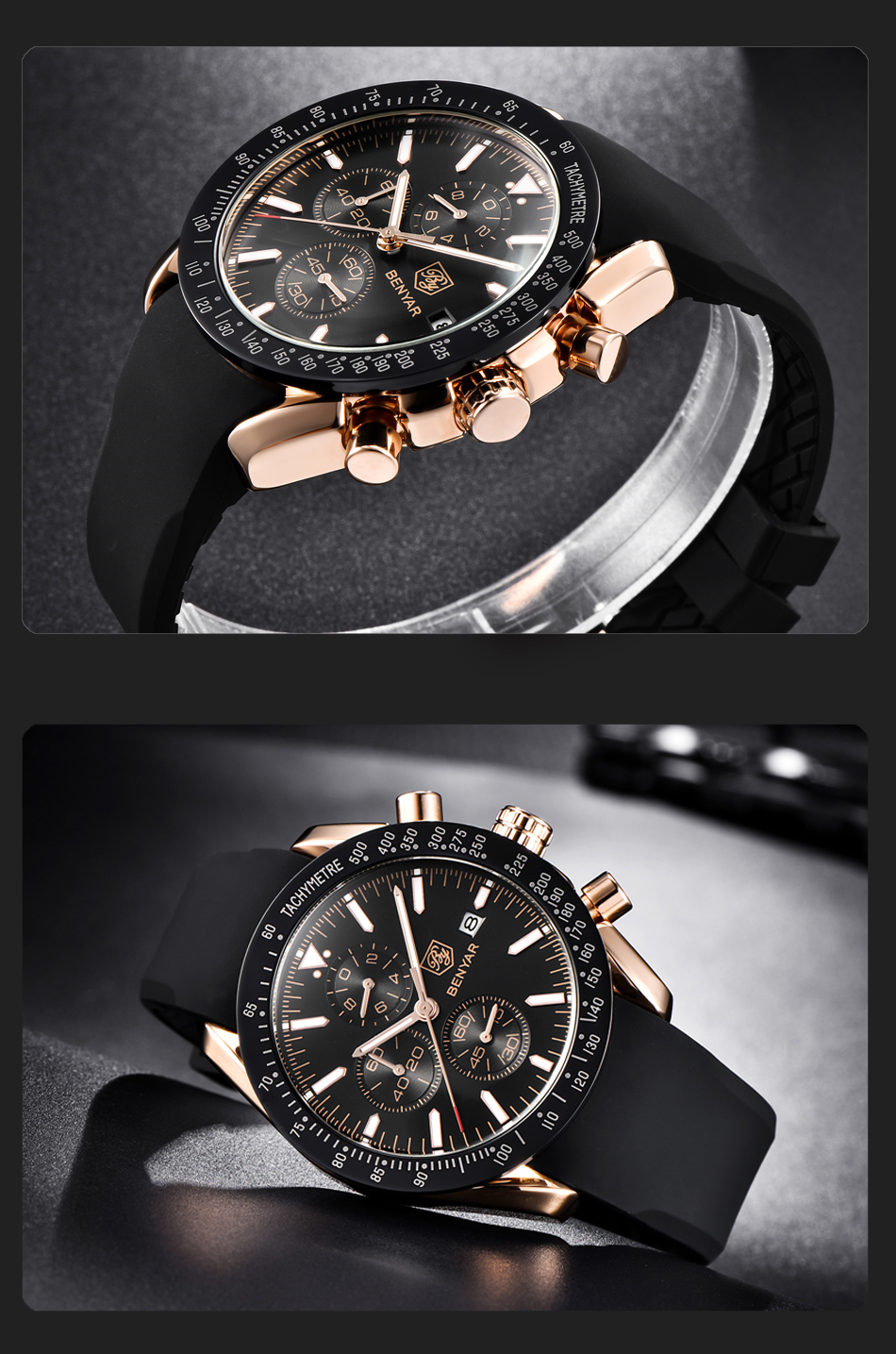 IsMyStore: BENYAR Men Watches Brand Luxury Silicone Strap Waterproof Sport Quartz Chronograph Military Watch Men Clock Relogio Masculino