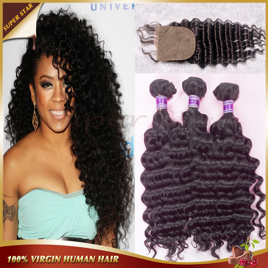 ФОТО Unprocessed Peruvian Deep Wave With Closure 3 Bundles Human Hair Extensions With Silk Closure 3 Part Lace Closure With Bundles