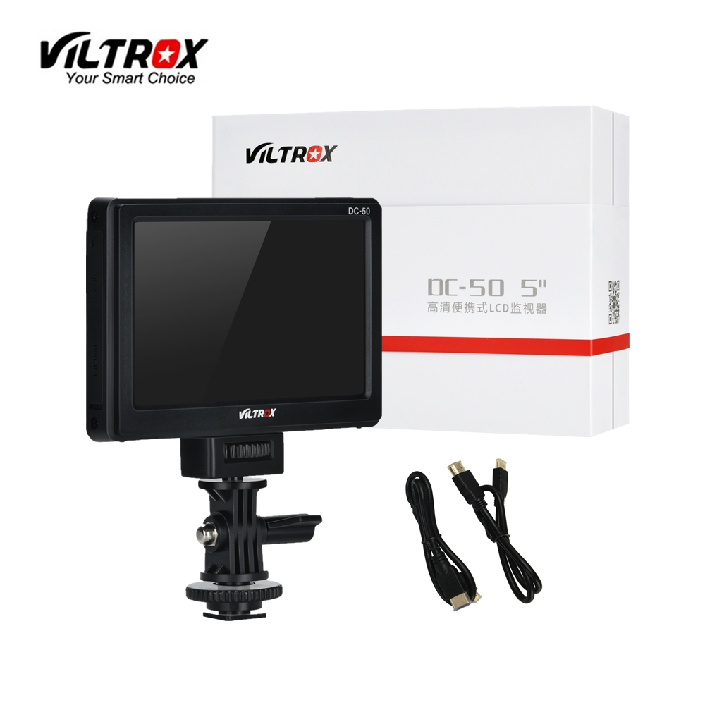 Viltrox DC-50 5'' DSLR TFT field LCD Micro HDMI Camera direct Video Monitor for Canon Nikon Sony A9 A7III A7RIII A6500 A7sII sony a6500