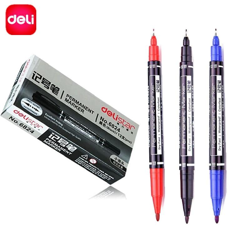 Deli 3 PCS/set Double Headed Permanent Marker Pen Twin Tip Waterproof Oily Marker Pen Set ( Black, Blue, Red ) Ink, 0.5mm-1mm deli s557 marker pen