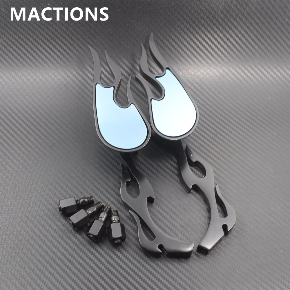 Universal Black 10mm Mirror Flame Pair Rear Side For Universal Motorcycles