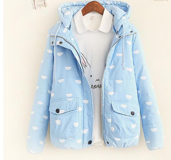 Облако печати Утолщение С Капюшоном куртки пальто 2016 новых Осенью И Зимой