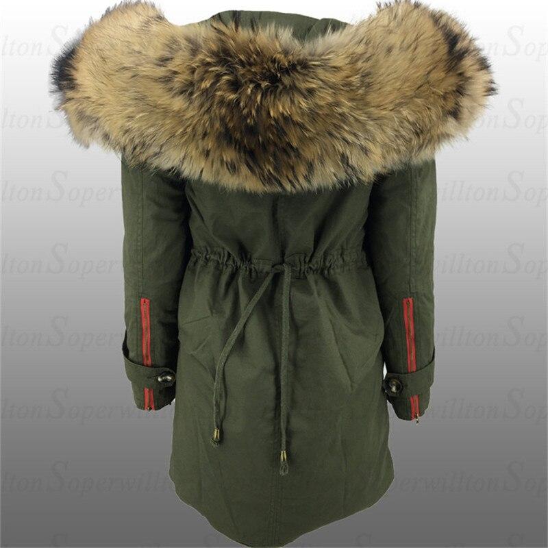free shipping 02e67 1b114 US $72.5 50% OFF|Soperwillton 2019 Neue Armee Grün Große Fell Kapuze Winter  Mäntel Frauen Pelz Trim Parka Jacken Echt Waschbären Pelz Damen Parkas # ...