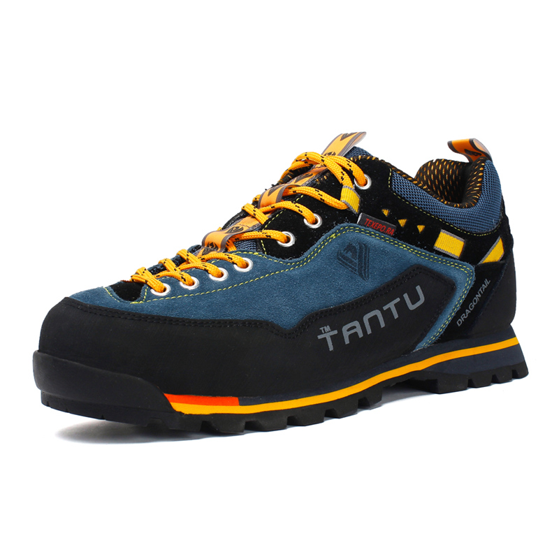 New Design Men Outdoor Shoes Leather Autumn Plus Size 46 Colorful Waterproof Comfortable Men Hiking Shoes zapatillas trekking in Hiking Shoes from Sports Entertainment
