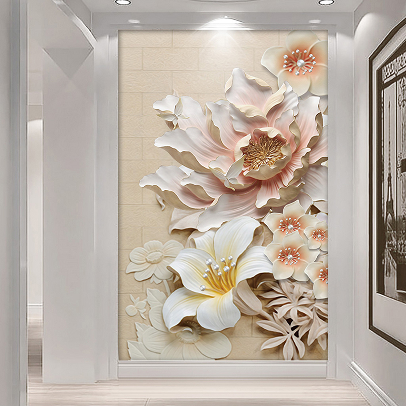 Custom Photo Wall Paper Modern 3D Stereo Relief Flower Living Room Entrance Aisle Backdrop Home Decoration Wall Mural Wallpaper