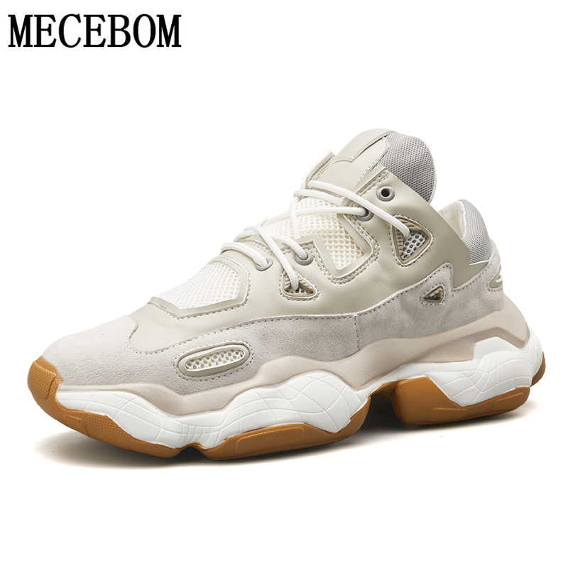 Men Chunky Sneakers Luxury Pig Suede+Mesh Breathable Men Casual Shoes Beige Thick Sole Dad Shoes Male Height Increasing