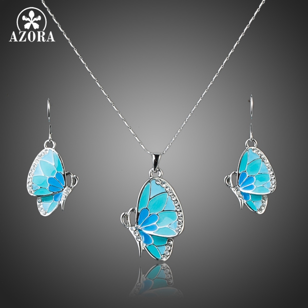 AZORA White Gold Color Stellux Austrian Crystal Butterfly Drop Earrings and Pendant Necklace Set TG0036