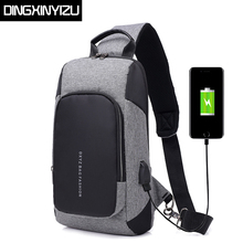 DINGXINYIZU USB Charging Men Crossbody Bags Business Male Shoulder Bag Anti-theft Chest Large Capacity Travel Messengers