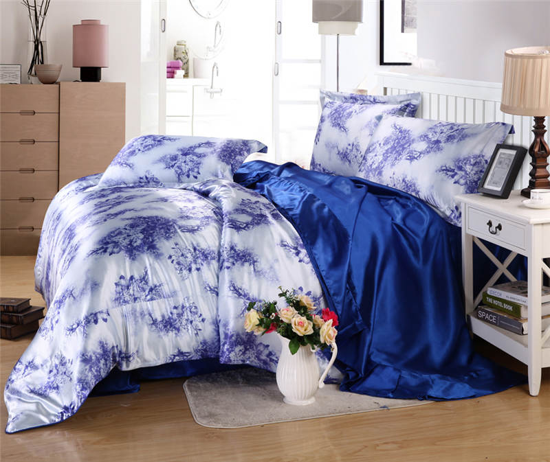 luxury satin silk bedding sets comforters duvet covers bedspreads twin full queen king size bedroom decor blue plant Adult home