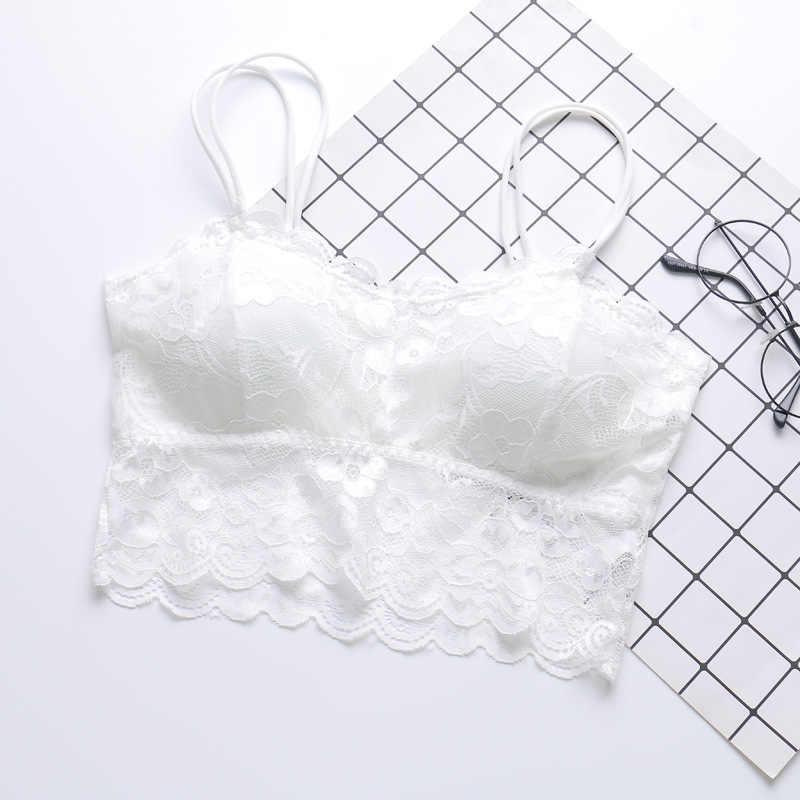 נשים רצועות לדחוף את סקסי תחרה חזיית רך אלחוטי חלקה Bralette הלבשה תחתונה תחתוני רשת חזייה לנשים BH Soutien ערוץ